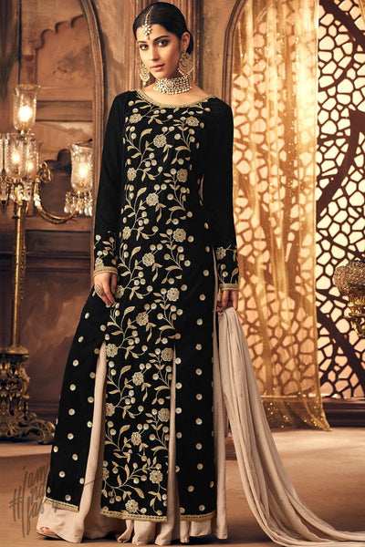 Black Falcon Velvet Party Wear Palazzo Suit