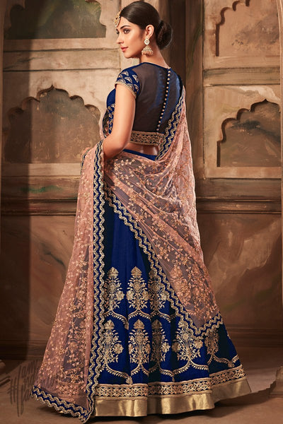 Blue and Pink Banarasi Silk Lehenga Set