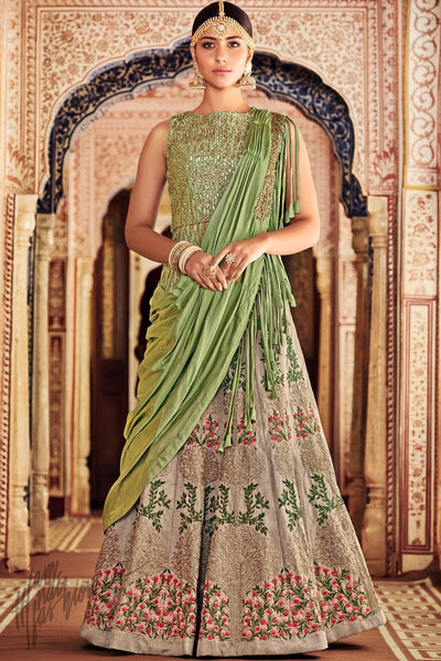Chiku and Green Silk Wedding Lehenga Set