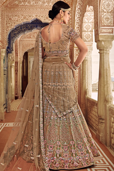 Beige Net Wedding Lehenga Set