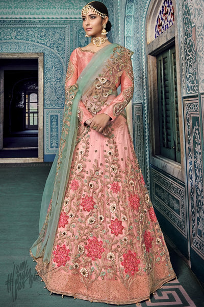 Pink and Sea Green Net Wedding Lehenga Set