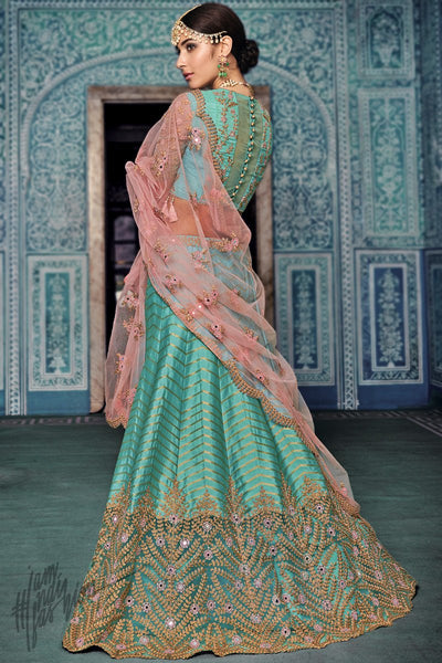 Turquoise and Baby Pink Net and Silk Wedding Lehenga Set