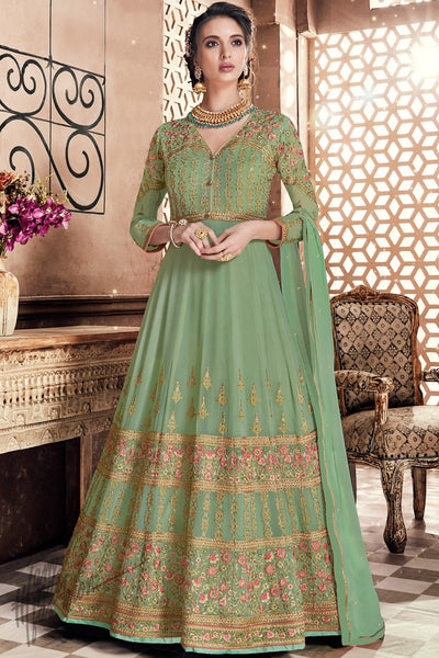 Fern Green Georgette Wedding Anarkali Suit