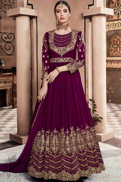 Mulberry Purple Georgette Wedding Anarkali Suit