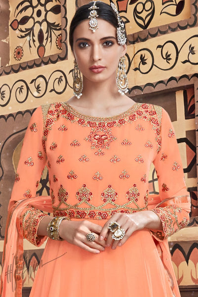Peach Georgette Wedding Anarkali Suit