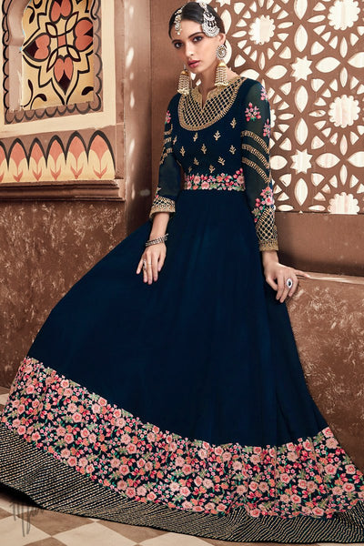 Navy Blue Georgette Wedding Anarkali Suit