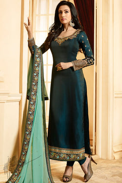 Peacock Blue and Sky Blue Silk Straight Suit