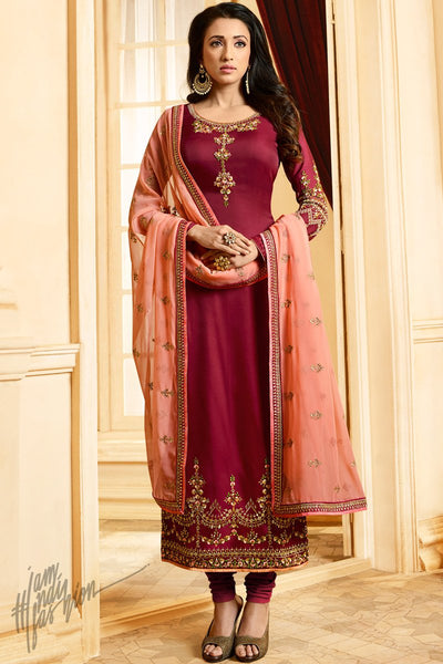 Jam Red and Peach Silk Straight Suit