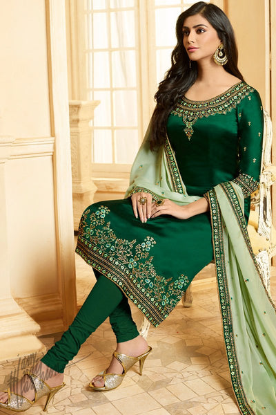 Forest Green and Light Green Silk Straight Suit