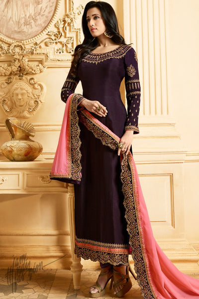 Dark Wine and Pink Silk Straight Suit