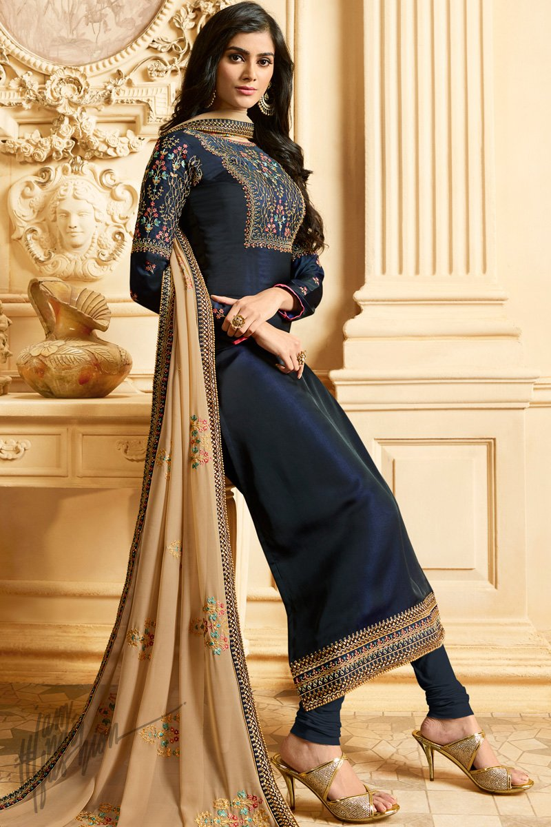 Denim Blue and Beige Silk Straight Suit