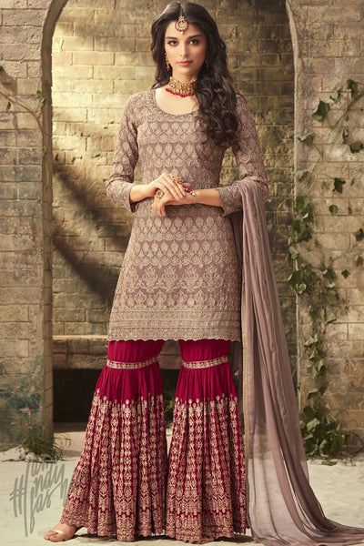 Mauve and Magenta Georgette Party Wear Sharara Suit
