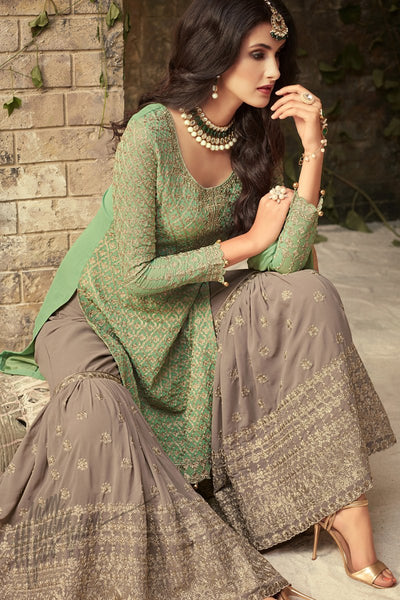 Leaf Green and Gray Georgette Party Wear Sharara Suit