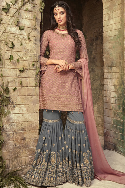 Onion Pink and Gray Georgette Party Wear Sharara Suit