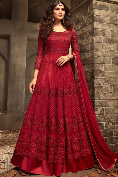 Maroon Net Floor Length Anarkali Suit