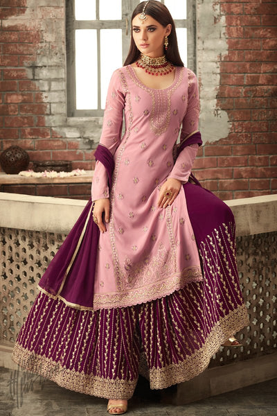 Pink and Sangria Purple Georgette Party Wear Palazzo Suit
