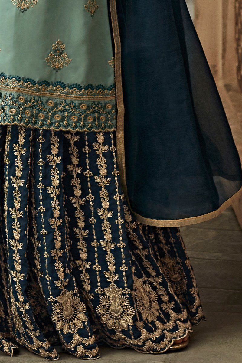 Teal and Navy Blue Georgette Party Wear Palazzo Suit