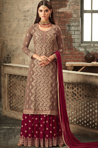 Beige and Jam Purple Georgette Party Wear Palazzo Suit