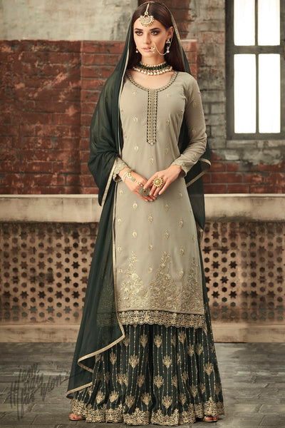 Light Olive and Forest Green Georgette Party Wear Palazzo Suit