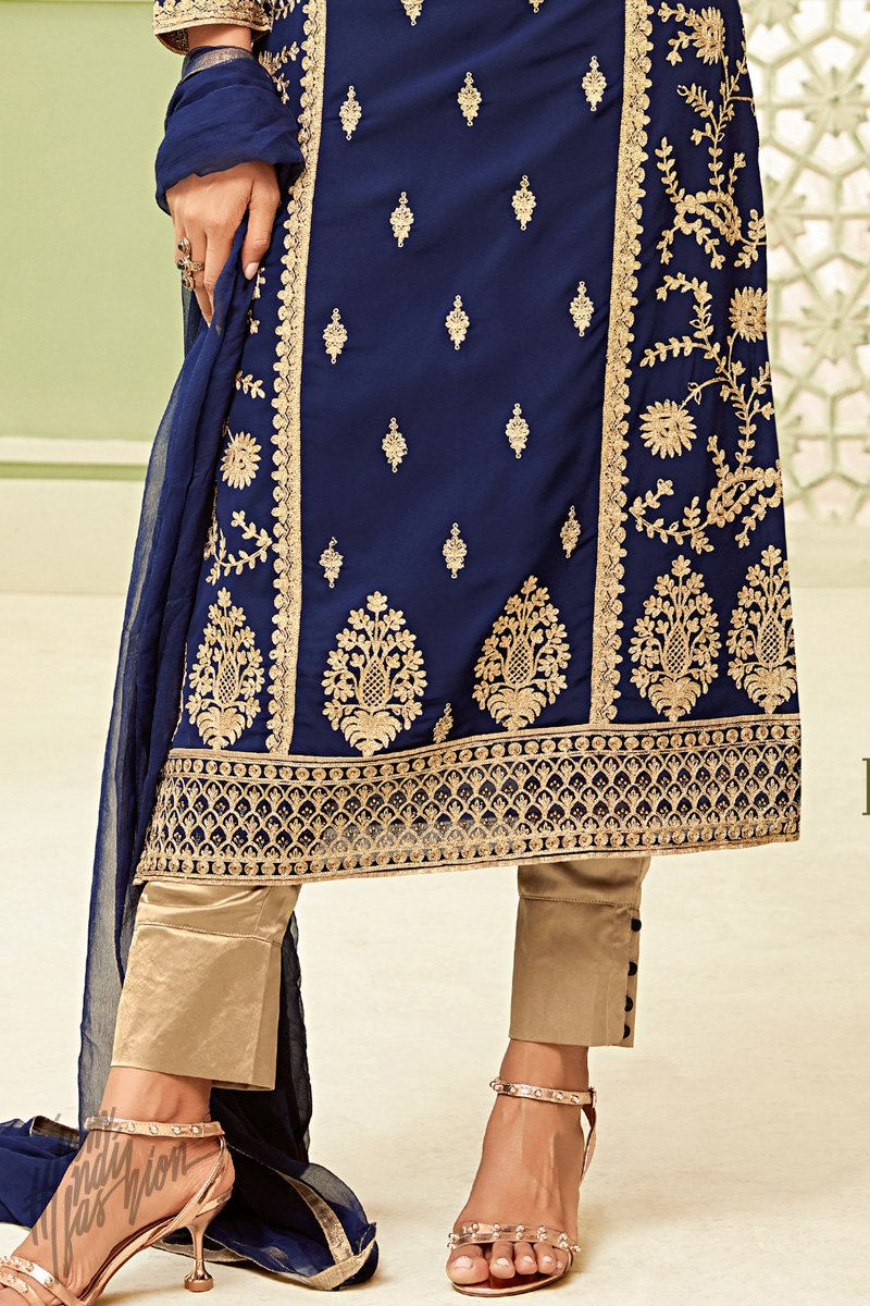 Blue Georgette Party Wear Straight Suit