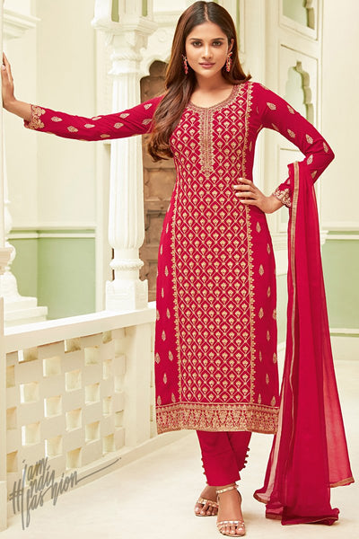 Red Georgette Party Wear Straight Suit