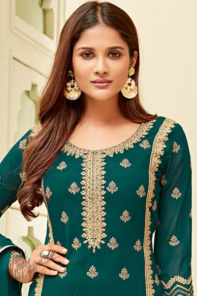 Green Georgette Party Wear Straight Suit