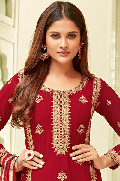 Cranberry Red Georgette Party Wear Straight Suit