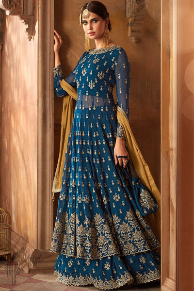 Blue and Mustard Georgette Lehenga Style Suit with Potli Bag