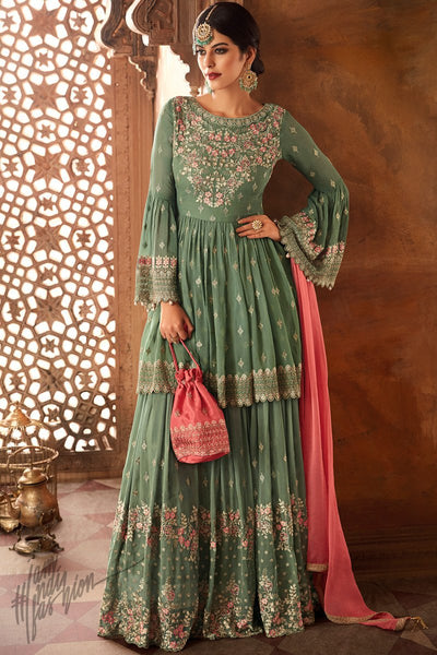 Pastel Green and Pink Georgette Palazzo Suit with Potli Bag