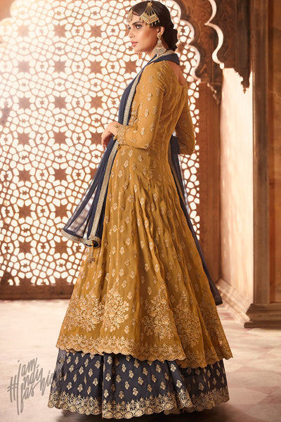 Mustard and Blue Georgette Lehenga Style Suit with Potli Bag