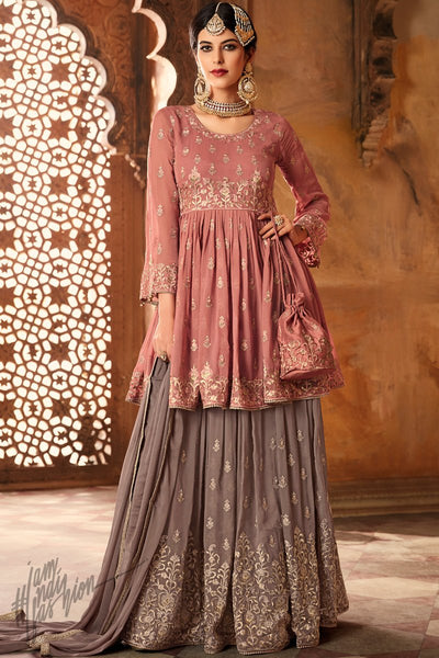 Peach and Gray Georgette Palazzo Suit with Potli Bag