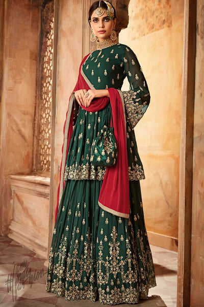 Green and Red Georgette Palazzo Suit with Potli Bag