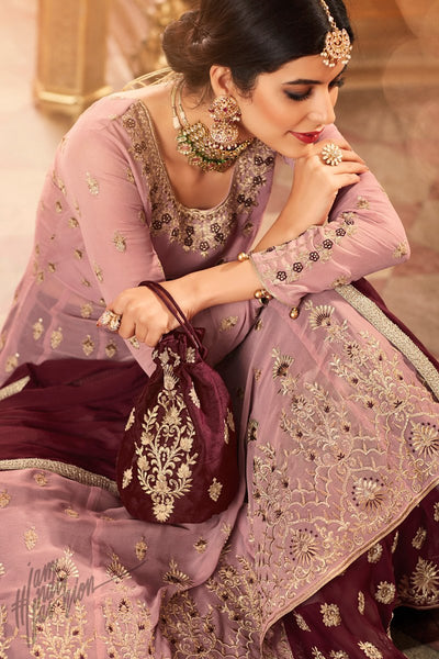 Mauve and Wine Georgette Lehenga Style Suit with Potli Bag