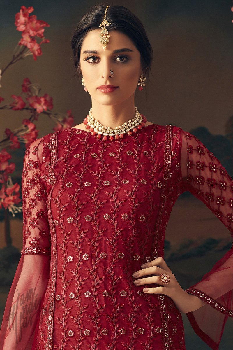 Red Net Party Wear Palazzo Suit