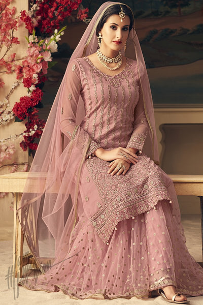 Baby Pink Net Party Wear Palazzo Suit
