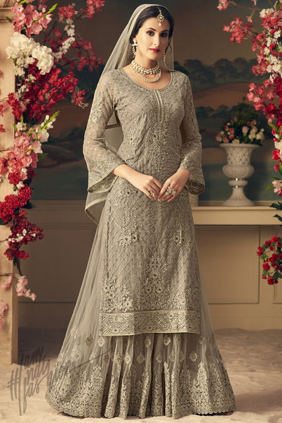Gray Net Party Wear Palazzo Suit