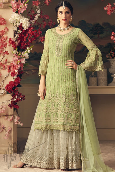 Pale Green and White Net Party Wear Palazzo Suit