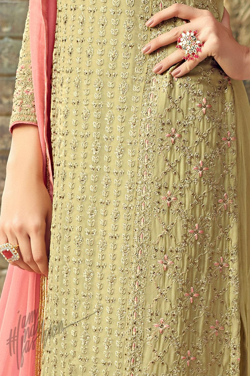 Light Mehandi Green and Pink Georgette Party Wear Straight Suit
