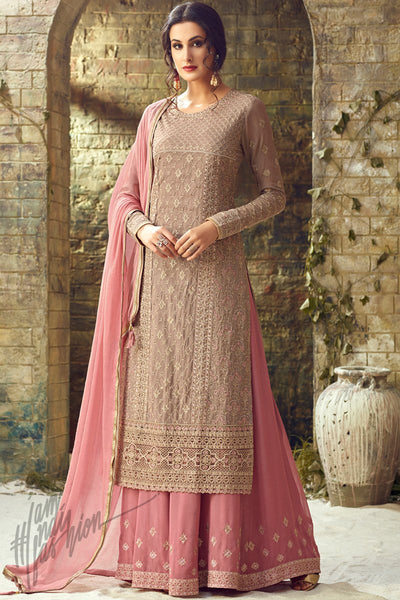 Light Brown and Pink Georgette Party Wear Palazzo Suit