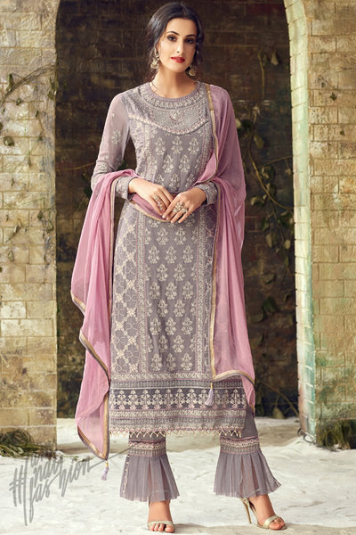 Light Gray and Mauve Georgette Party Wear Straight Suit