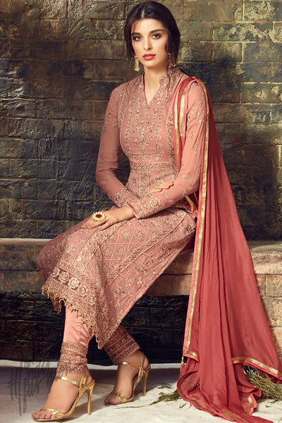 Peach and Pink Georgette Party Wear Straight Suit