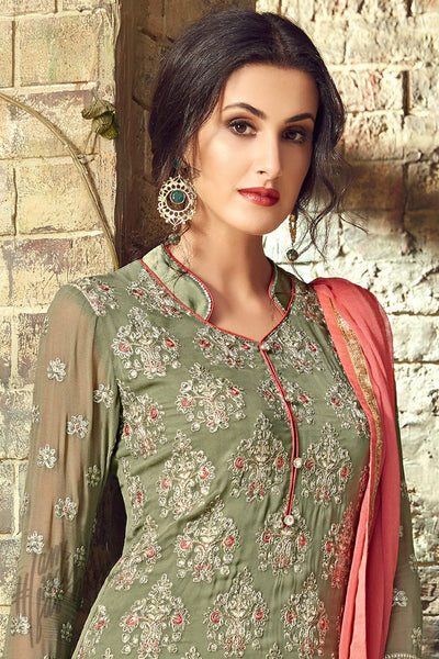 Green and Peach Georgette Party Wear Straight Suit