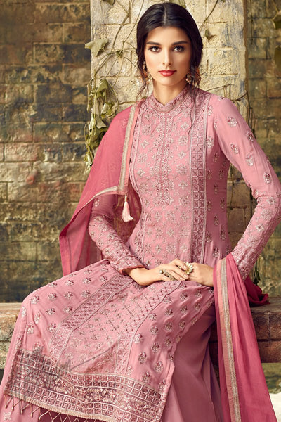 Baby Pink Georgette Party Wear Palazzo Suit