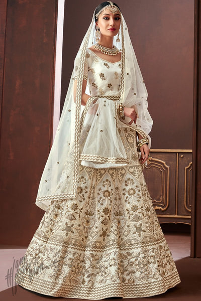 Off White Organza Silk Wedding Lehenga Set