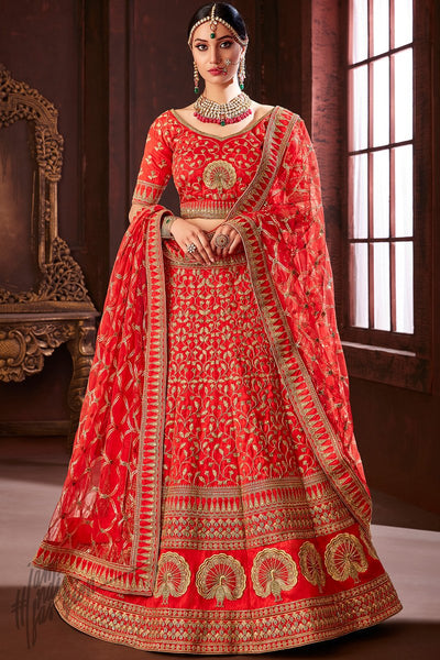 Red Pure Soft Silk Wedding Lehenga Set