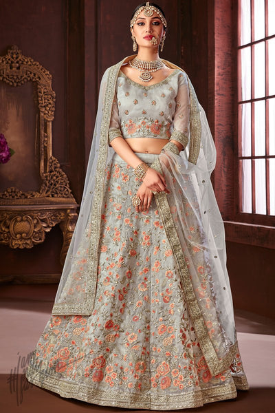 Silver Organza Silk Wedding Lehenga Set