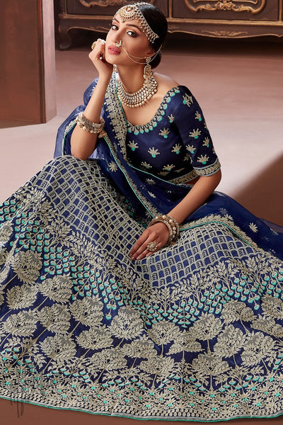 Navy Blue Apple Silk Wedding Lehenga Set