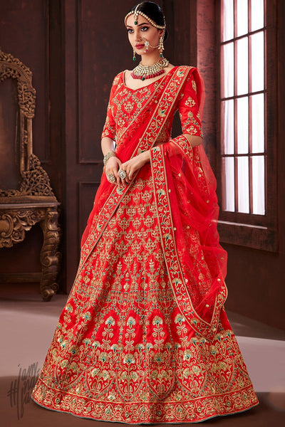 Red Soft Silk Wedding Lehenga Set