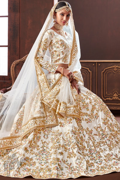 White Pure Silk Wedding Lehenga Set