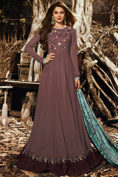 Brown and Blue Georgette and Silk Floor Length Party Wear Suit